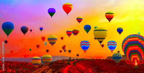 Poster Montgolfière / Dirigeable hot air balloons flight sunrise
