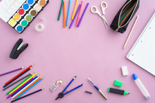 Colourful School Supplies With...