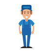 happy repair worker or handyman icon image vector illustration design