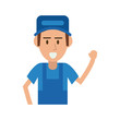 happy repair worker or handyman lifting hand icon image vector illustration design