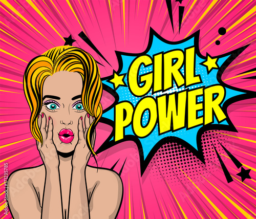 Beautiful sexy girl blonde hair wow oops face open mouth style pop art speech bubble girl power. Comics book retro halftone background. Vector advertise illustration. Comic text.