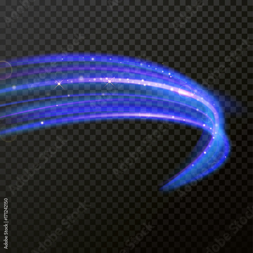 Fototapety, obrazy: Light line neon swirl effect. Vector glitter light fire flare trace. Magic sparkle swirl trail effect on transparent background. Bokeh blue light glitter round wave line with sparkling particles