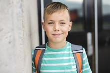 Pre Teen Boy Outside At School