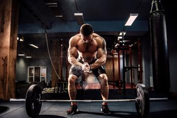 Muscular fitness man prepar...