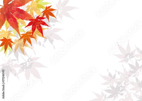 紅葉の背景秋のイメージの背景 A4縦飾り枠モミジのイラスト 背景