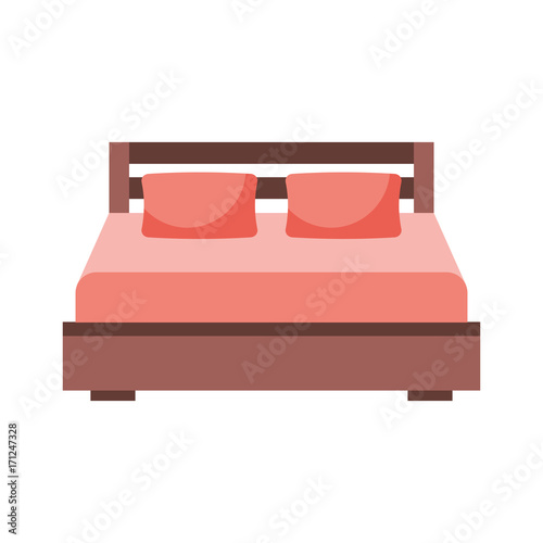 Double Bed And Pillow With Blanket Bedroom Furniture Vector