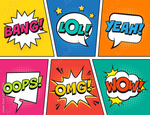 Pop Art Retro comic speech bubbles set on colorful background. Expression text LOL, OMG, WOW, YEAH, OOPS, BANG. Vector illustration, vintage design, pop art style.