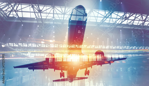 take-off-of-an-aircraft-with-double-exposure-of-airport