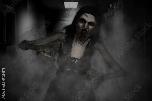 Photo 3d illustration of scary angry ghost woman screaming in haunted house,Horror bac