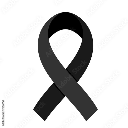 Black Ribbon On White Background For Mourning And Melanoma Concept