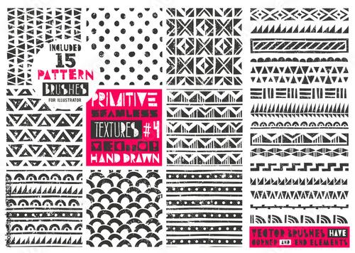 Set of 8 primitive geometric patterns collection Canvas Print