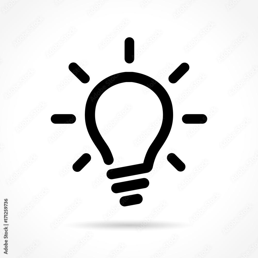 Photo  light bulb icon on white background