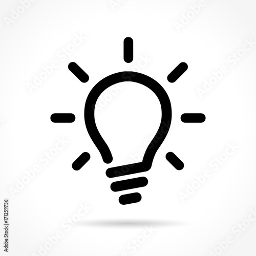 Photo light bulb icon on white background