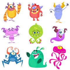 Naklejka Cartoon Monsters. Vector set of cartoon monsters isolated. Design for print, party decoration, t-shirt, illustration, logo, emblem or sticker