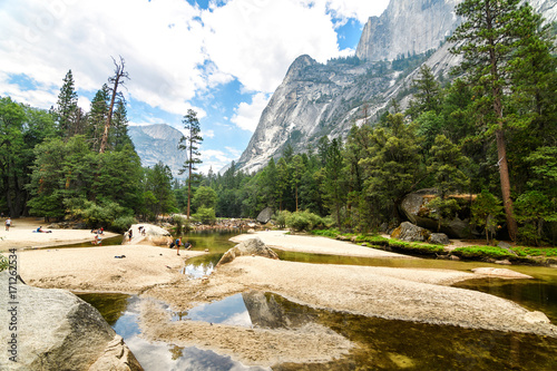 amazing mirror lake of yosemite national park, california Canvas Print