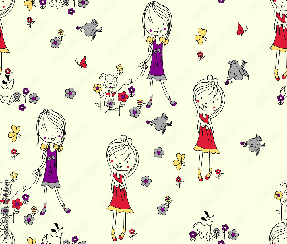 Easter seamless pattern dog,floral , doll,Cartoon