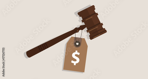 Obraz buy justice law price tag dollar sign on hammer bribery corrupted trial judgment concept of auction - fototapety do salonu