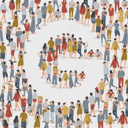 Fotobehang Kinderkamer Crowd of People in The Shape of Alphabet : Vector Illustration
