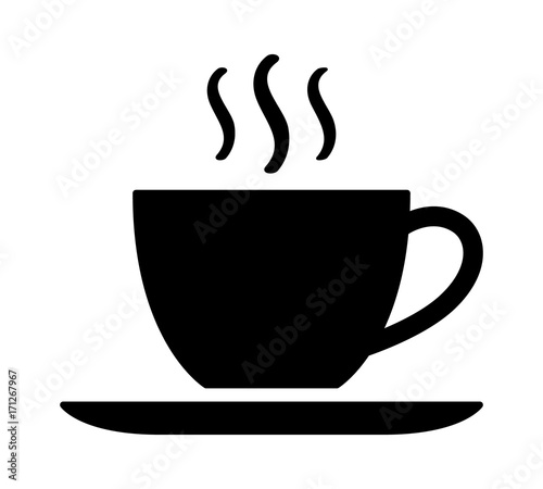 Fototapeta A cup of hot cafe coffee or caffeine drink flat vector icon for food apps and we