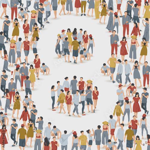 Fotobehang Kinderkamer Crowd of People in The Shape of Number : Vector Illustration