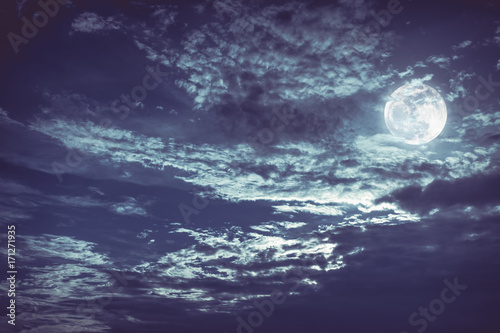 Fototapety, obrazy: Beautiful night sky with dark cloudy. Some clouds overshadow the full moon.
