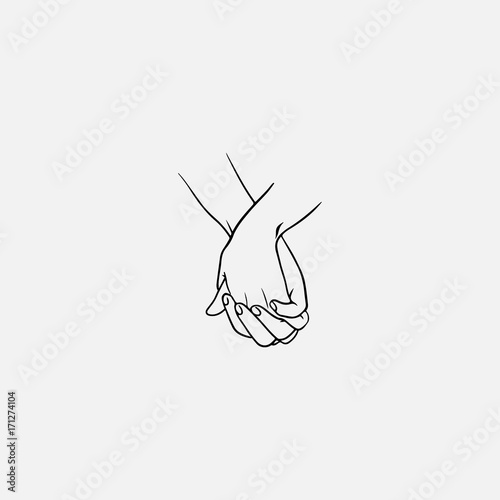Fotografia Holding hands with interlocked or intertwined fingers drawn by black lines isolated on white background