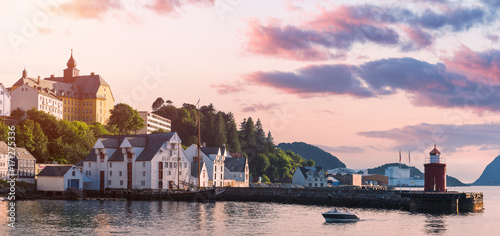 Deurstickers Amsterdam Colorful sunset in Alesund port town