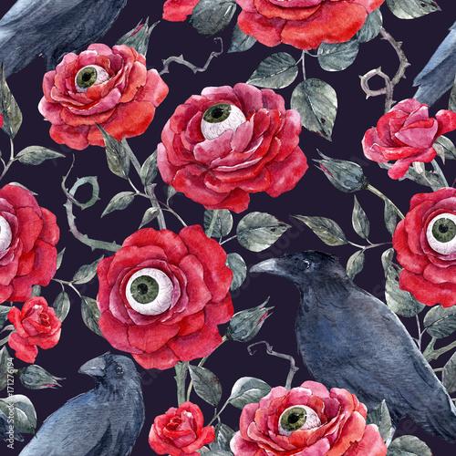 Materiał do szycia Akwarela kwiatowy wzór halloween