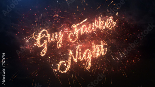 Fotografía  Happy Guy Fawkes' Night greeting text with particles and sparks on black night sky with colored slow motion fireworks on background, beautiful typography magic design