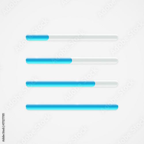 Fotografía  Shiny glossy simple transparent blue progress bar design element set