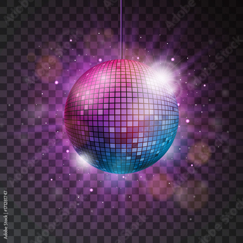 Cuadros en Lienzo Vector shiny disco ball illustration on a transparent background.