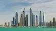 sunny day dubai marina downtown famous palm jumeirah bay panorama 4k uae