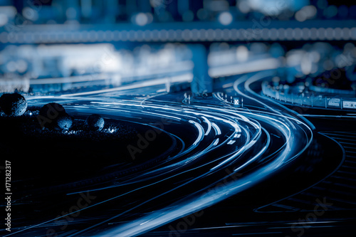 the light trails on the street in shanghai china.. #171282317