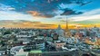 """4K resolution, Timelape Panorama view on skyscraper at """"Trimitr temple"""" is the biggest golden buddha in the world, The top of landmark in Bangkok, Cityscape is golden light sunset in Twilight."""