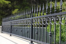 Beautiful Metal Fence In The Park Or In The Garden