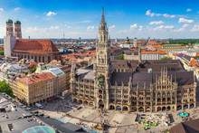 Munich City Skyline At Marienplatz New Town Hall, Munich, Germany