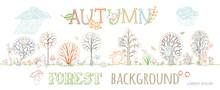 Vector Autumn Forest Background.