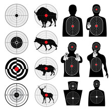 Gun Shooting Targets And Aiming Target Silhouettes Vector Collection