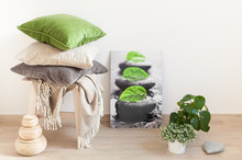 Gray And Green Cushions Cozy H...