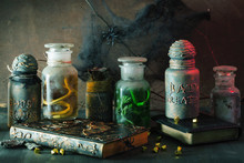 Witch Apothecary Jars Magic Po...