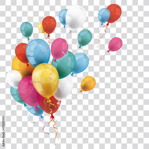 Photo  Colored Transparent Balloons Bunch