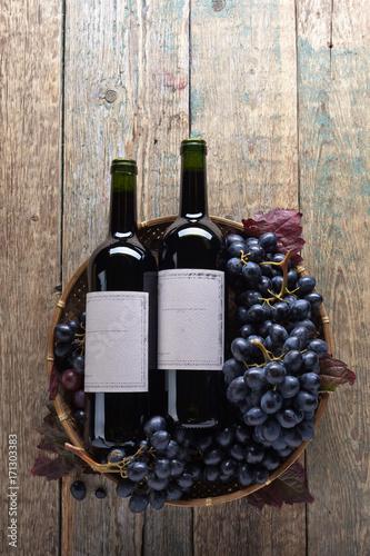Fototapeta Grapes and red wine. obraz na płótnie