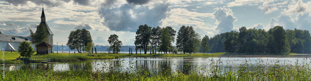 Fototapety, obrazy: Summer panorama of the lake with an Orthodox monastery