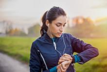 Athlete Woman Check Smartwatch
