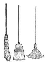 Broom Illustration, Drawing, Engraving, Ink, Line Art, Vector