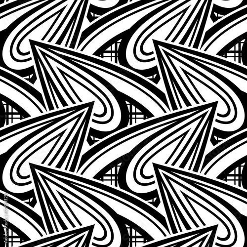 Fototapeta Czarno-biały wzór z motywami etnicznymi