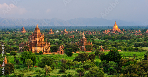 Buddhist temples in Bagan, Myanmar Canvas Print