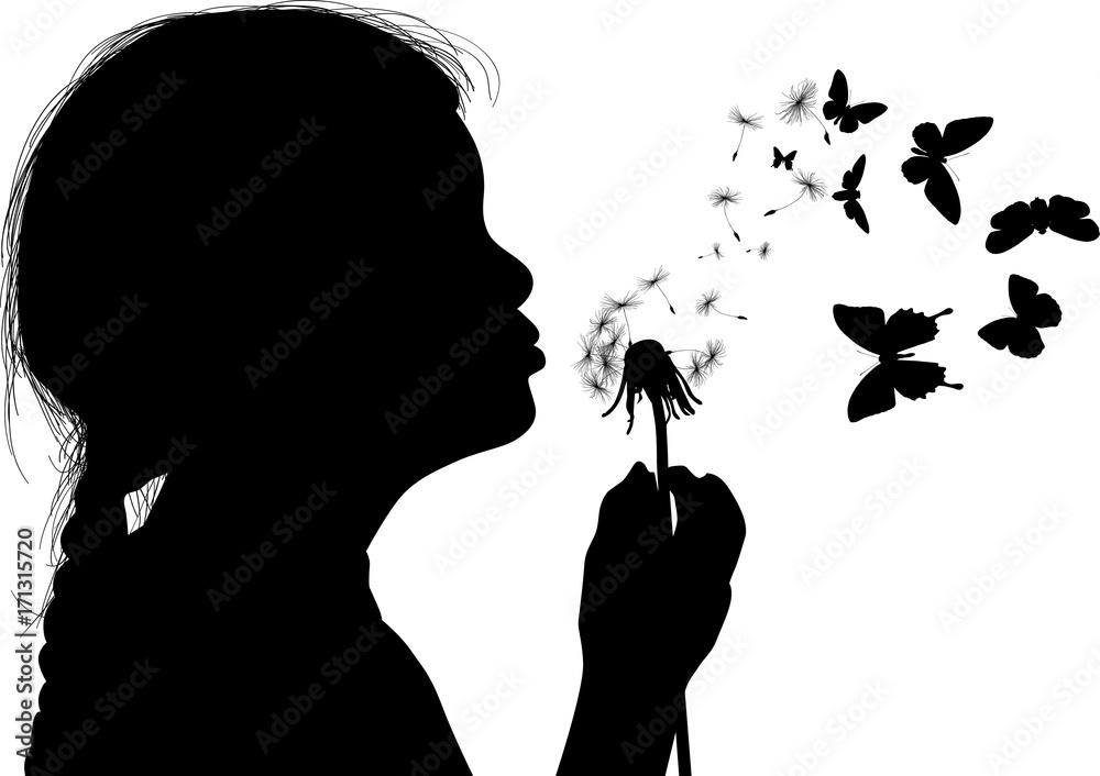 Fototapety, obrazy: girl silhouette blowing on black dandelion