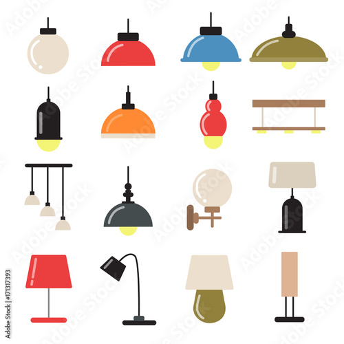 Interior Decoration With Modern Lamps And Chandeliers Vector