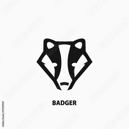 Valokuvatapetti Badger icon on white background